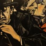 « En Terrasse », huile sur bois, 45x55 cm