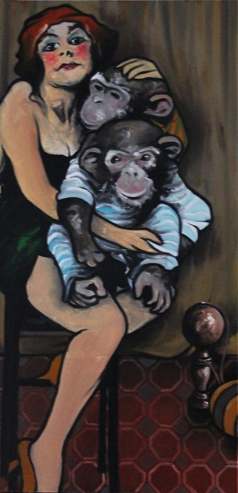 « La Montreuse de Singes », huile sur toile, 50x100 cm (disponible)