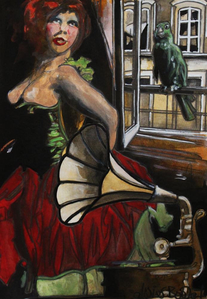 « Au Balcon », encres, 30x40 cm     (vendu)