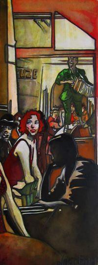 « La belle Rousse », encres, 20x50 cm