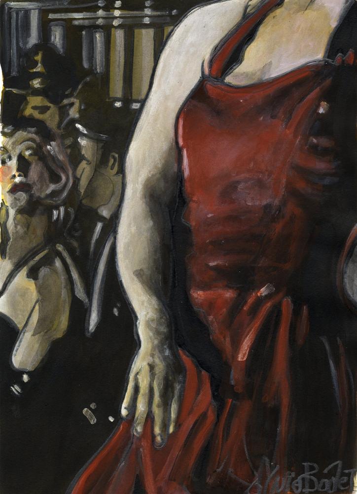 « La Robe rouge », encres, 30x40 cm