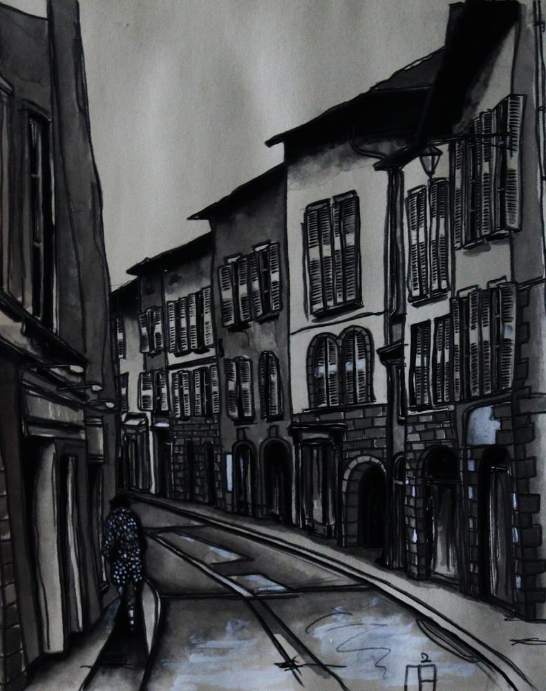 « La Silhouette », lavis sur papier, 40x50 cm     (vendu)