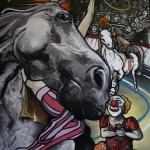 « Le Clown amoureux », huile sur toile, 80x100 cm (vendu)