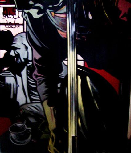 « Le Contrebassiste », acrylique sur toile, 100x120 cm