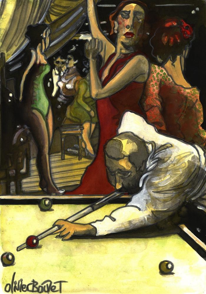 « Le Joueur de Billard », encres, 30x40 cm