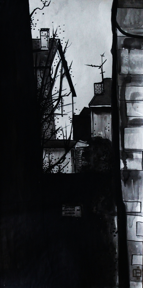 « Le Passage », lavis sur papier, 30x60 cm