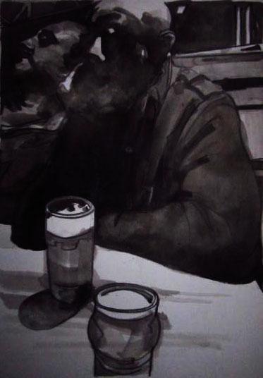 « Le Sommeil du Juste », encres, 30x40 cm