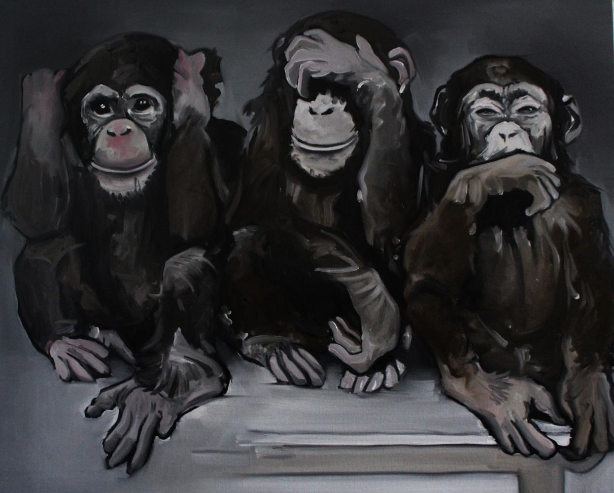 « Les 3 Singes », huile sur toile, 80x100 cm (vendu)