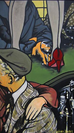 « Les belles Gambettes », huile sur bois, 50x80 cm