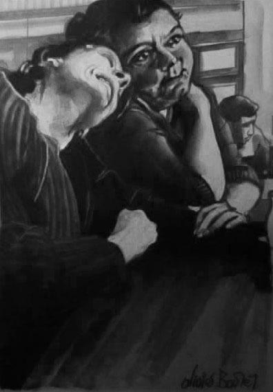 « Les Copines », encres, 40x50 cm