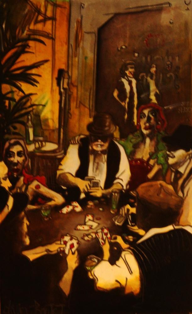 « Les Joueurs de Cartes », encres, 55x75 cm