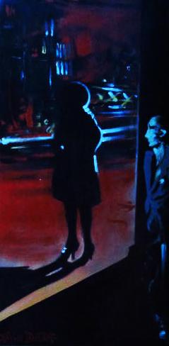 « Noir sur la Ville 1 », acrylique sur toile, 20x50 cm