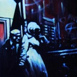 « Noir sur la Ville 2 », acrylique sur toile, 20x50 cm (vendu)