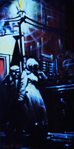 « Noir sur la Ville 2 », acrylique sur toile, 20x50 cm