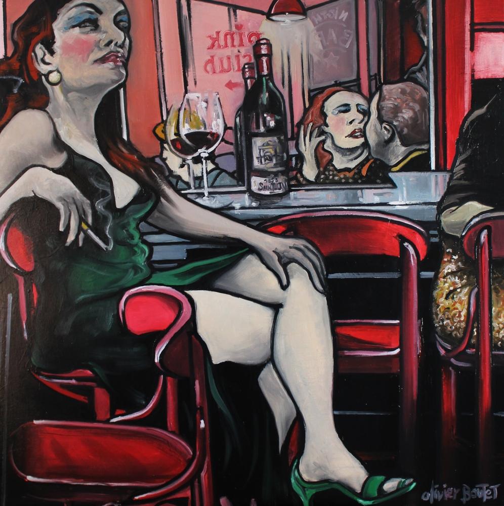 « Oiseaux de Nuit », huile sur toile, 90x90 cm