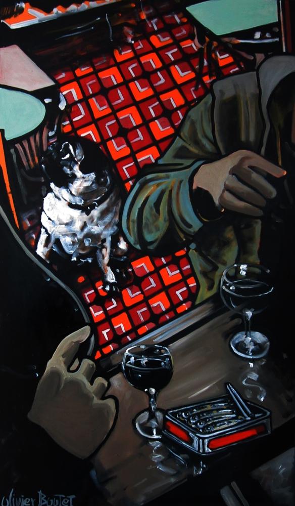 « Sardines et Verres de Rouge », huile sur bois, 50x80 cm