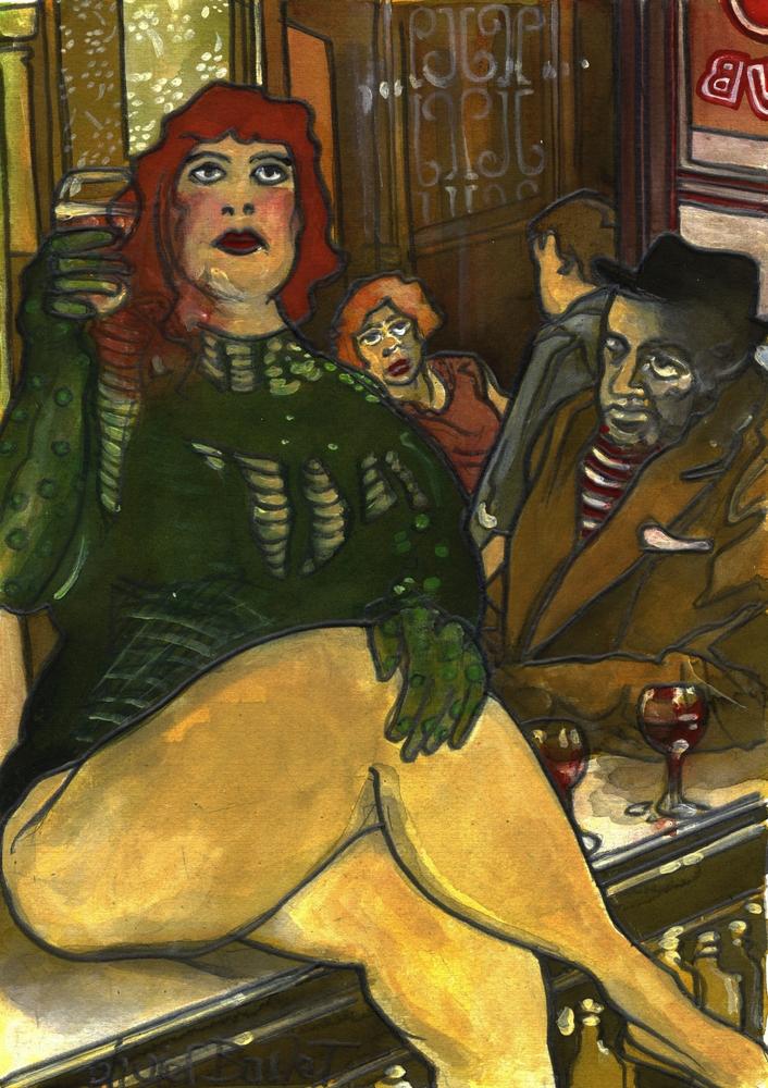 « Sur le Comptoir 2 », encres, 30x40 cm