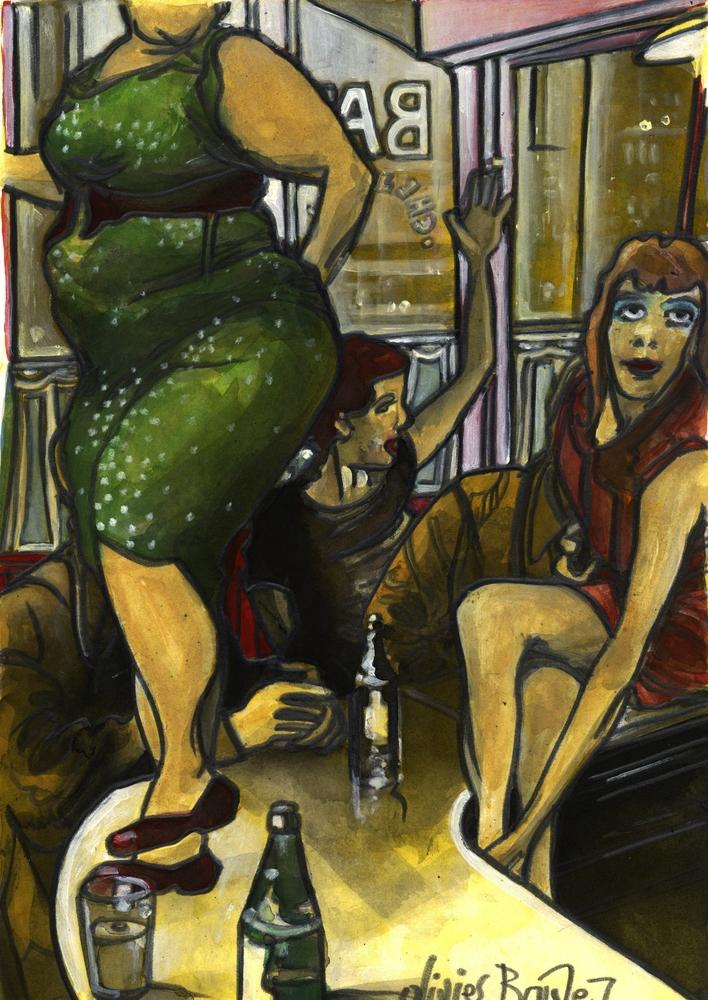 « Sur le Comptoir 3 », encres, 30x40 cm