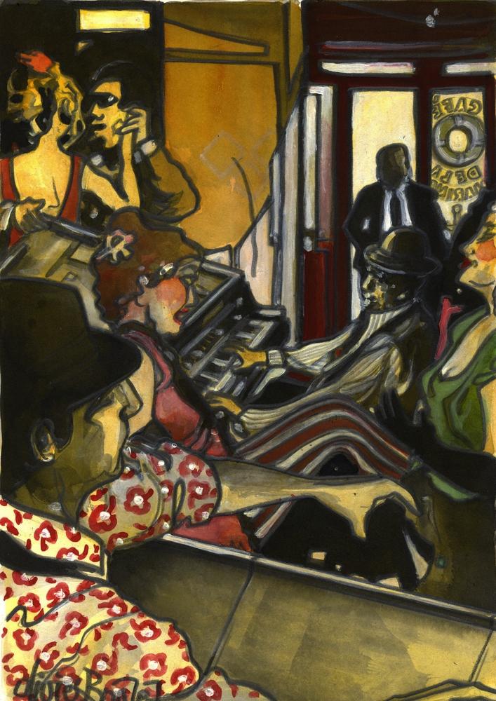 « Une folle Soirée », encres, 30x40 cm