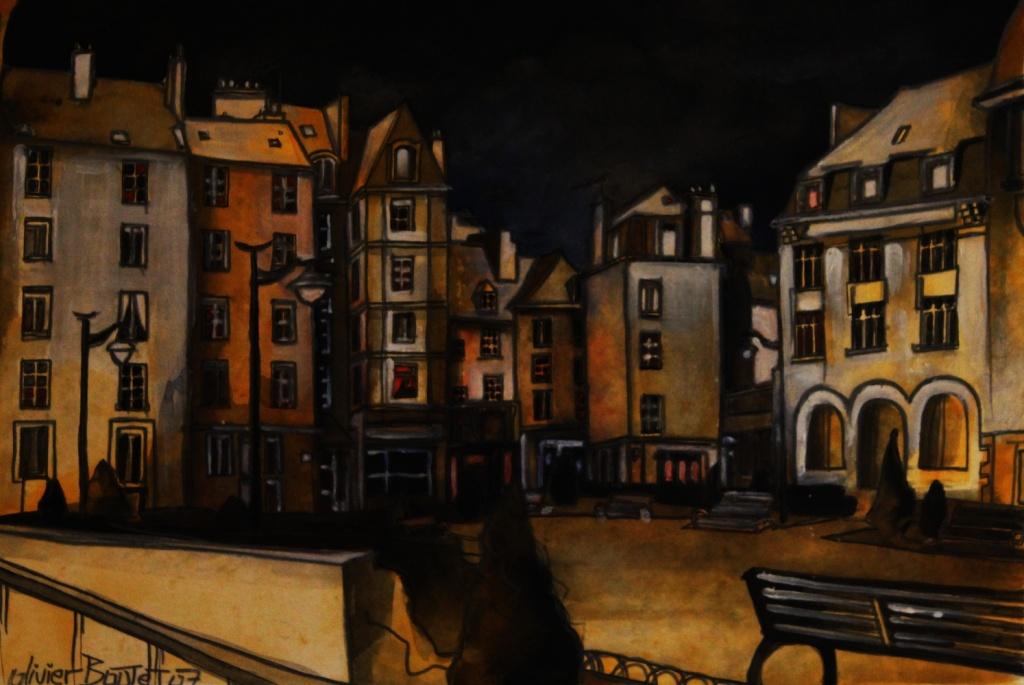 « Saint-Malo... by night », encres, 40x50 cm