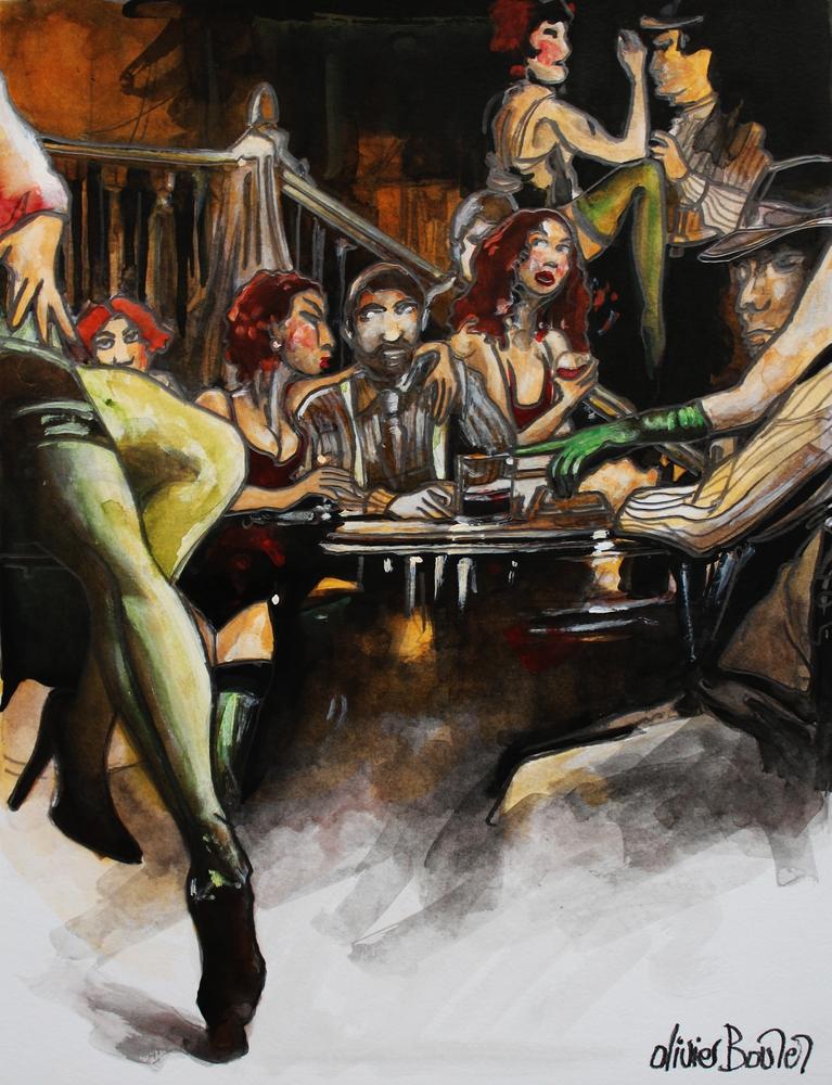 « Le Gang des Rouquines », encres, 40x50 cm