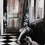« Le petit Oiseau ou le Secret bien caché », encre bistre, 40x50 cm (vendu)