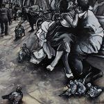« À Bicyclette », huile sur toile, 120x120 cm (disponible)
