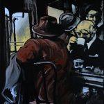« Au Bistrot », huile sur bois, 56x70 cm