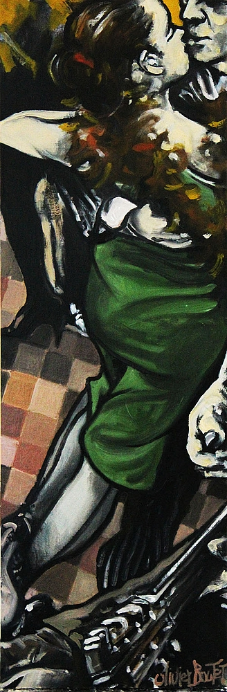 « Au Son d'la Guitare », huile sur bois, 22x66 cm     (vendu)