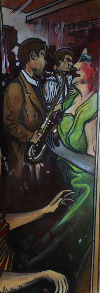 « Au Son du Saxo », encres, 20x50 cm