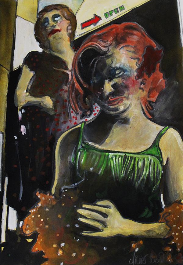 « Dans les Coulisses », encres, 30x40 cm