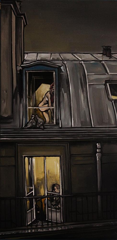 « Fenêtre sur Cour », huile sur toile, 50x100 cm     (disponible)