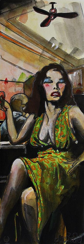 « La Belle du Bar », encres, 20x50 cm