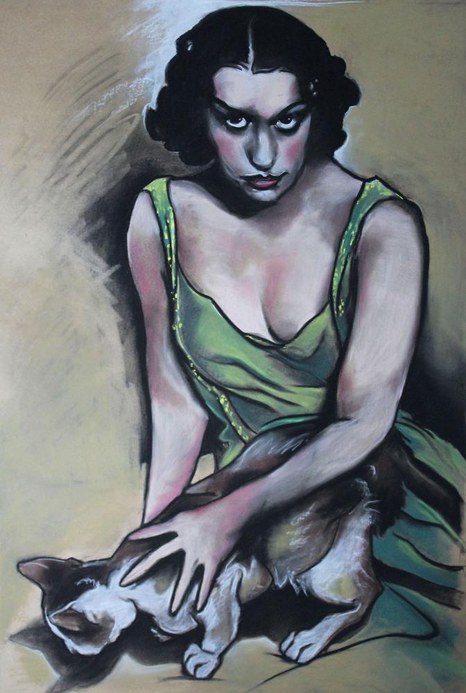 « La Belle et la Bête », craie contée, 80x120 cm