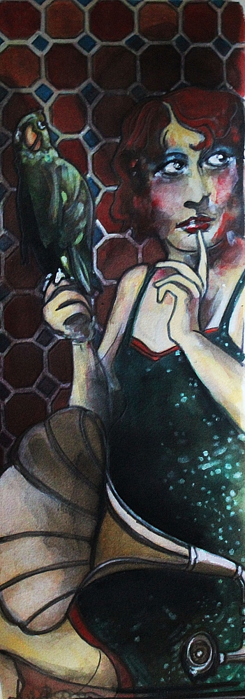 « La Belle et l'Oiseau », encres, 20x50 cm