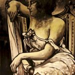 « La Boudeuse au Boudoir », huile sur toile, 60x80 cm (disponible)