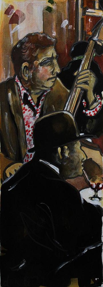 « La Contrebasse », encres, 20x50 cm