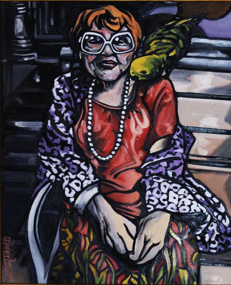 « La Dame au Perroquet », huile sur toile, 55x66 cm