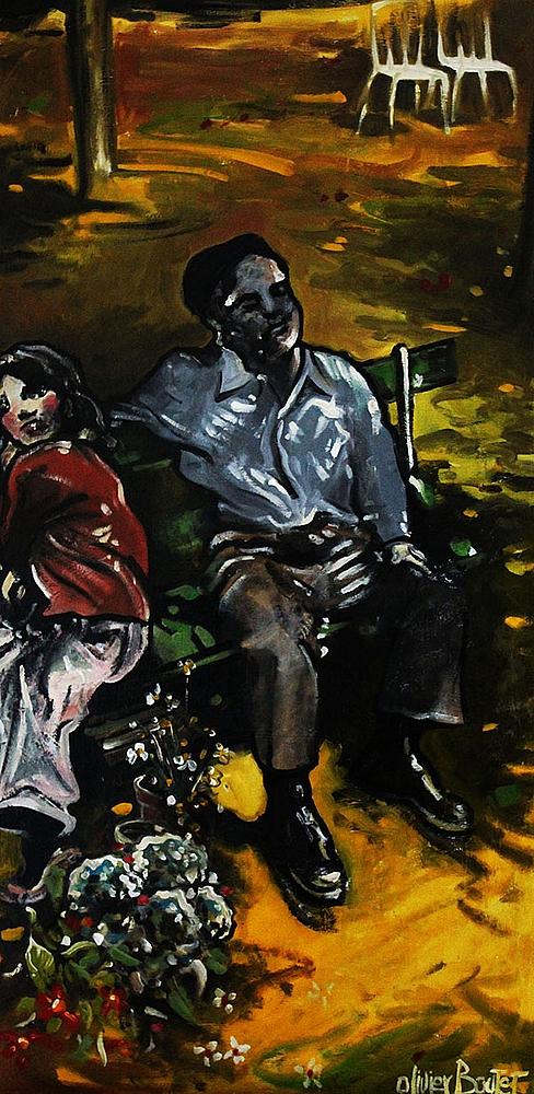 « La jeune Fille qui vendait des Fleurs », huile sur bois, 50x100 cm     (disponible)