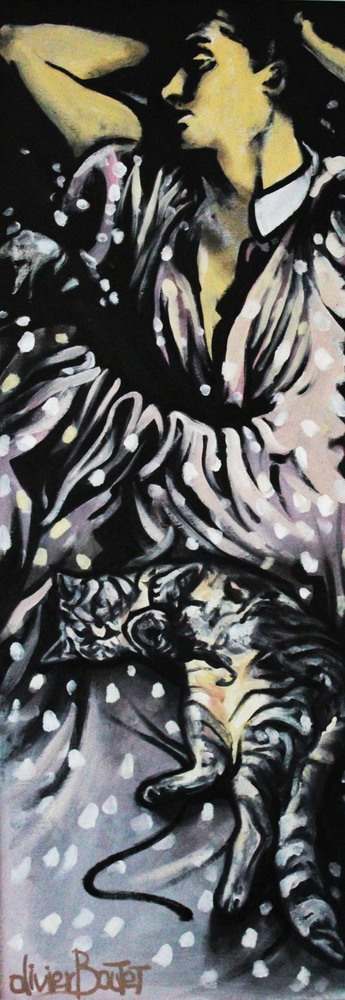 « La Sieste », huile sur bois, 32x89 cm