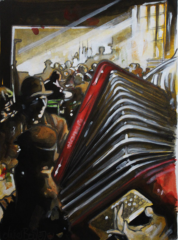 « L'Accordéoniste », encres, 30x40 cm