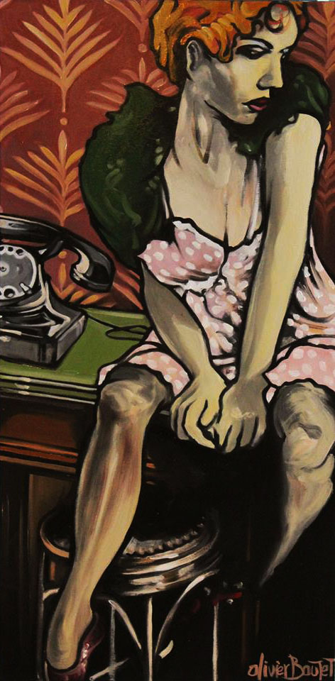 « Le Blues de la Standardiste », huile sur toile, 50x100 cm