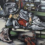 « Le Blues sur le Trottoir », huile sur toile, 60x80 cm