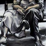 « Le Bonheur est dans l'Pré », huile sur toile, 50x100 cm (vendu)