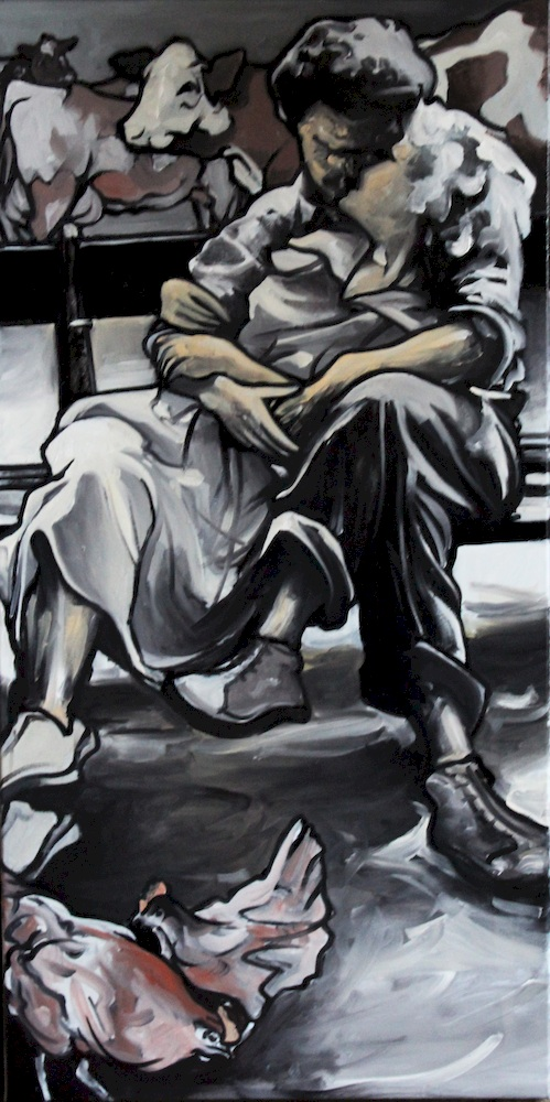 « Le Bonheur est dans l'Pré », huile sur toile, 50x100 cm