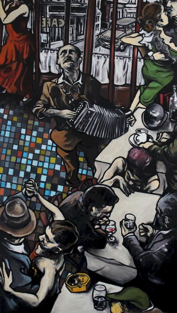 « Le Caf'Conc' », huile sur bois, 70x120 cm