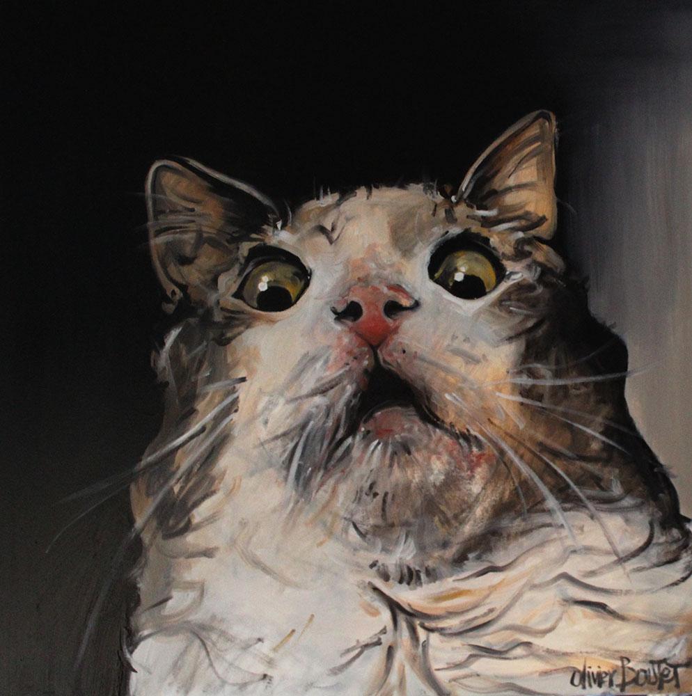« Le Chat », huile sur toile, 90x90 cm (vendu)