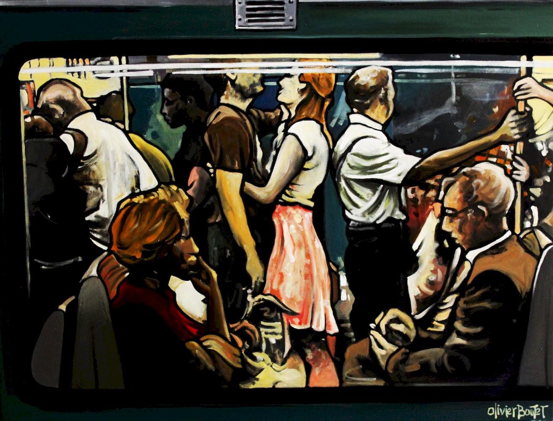 « Le dernier Métro », huile sur toile, 80x100 cm (disponible)