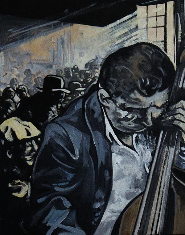 « Le Tripot », huile sur bois, 56x70 cm
