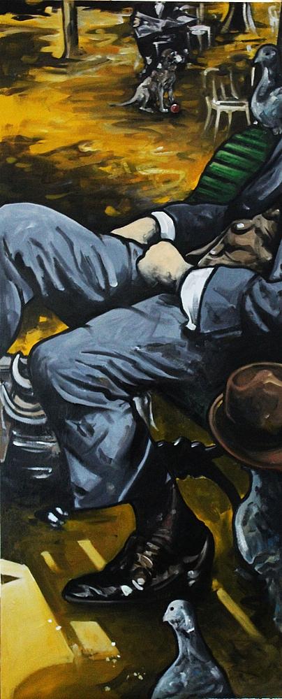 « Le Voyageur », huile sur bois, 50x120 cm